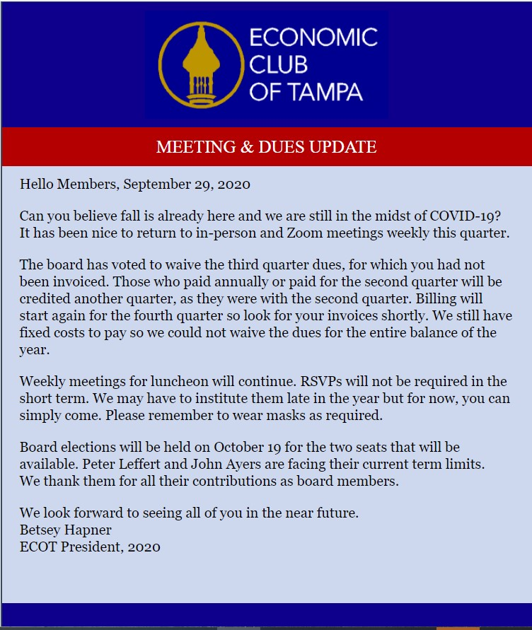 Meeting and Dues update
